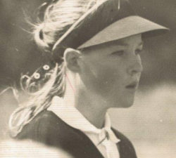 Younger Sally Little with a face of focus