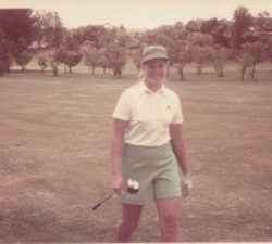 Younger Sally walking down the range