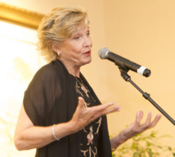 Sally Little speaking to everyone during the book launch