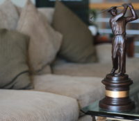 A golfing trophy that was awarded to Sally Little