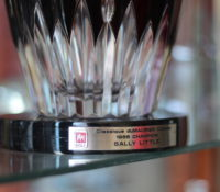 Close up of the golfing trophy Sally Little won in 1988
