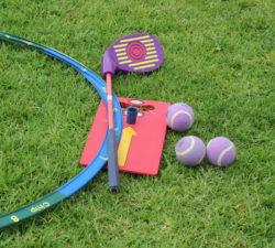 Closeup of golf equipment for kids