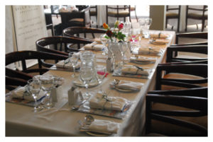 A dinner table set up for the golfers