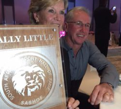 Sally Little receiving the Golf Hall of Fame trophy