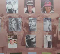 Sally Little inducted into a wall with Famous Female Golfers