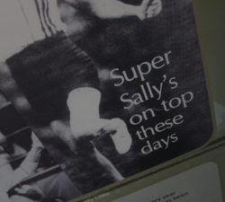 """A magazine quote that reads """"Super Sally's on top these days"""""""
