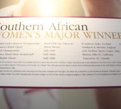 A board of South African Women's Major Winners