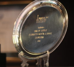 A trophy awarded to Sally Little