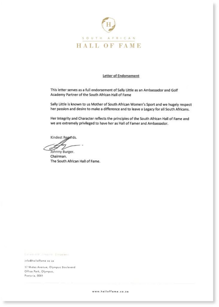 Letter of Endorsement
